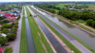 Beautiful scene of Watergate and watercourses for irrigation in countryside, aerial video