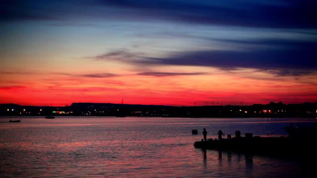 beautiful sunset of Siracusa port