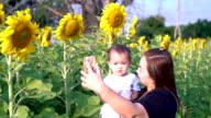 Beautiful teenage girl with her cute little daughter using a smart phone and smiling in the sunflower field