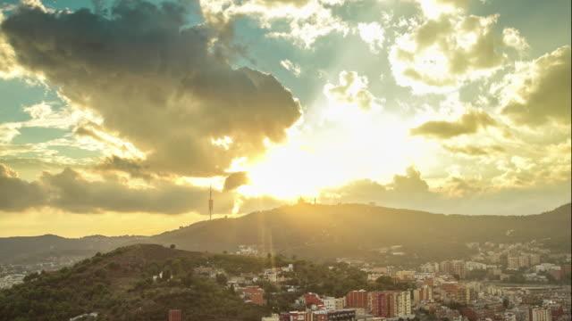 Beautiful timelapse Tibidabo mountain sunset in Barcelona, Spain.