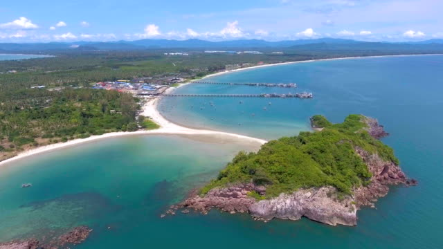 Beautiful Tropical Beach with White Sand, Aerial view