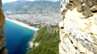 Mooie uitzicht vanaf Alanya kasteel met achtergrond van Alanya Stad