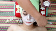 beautiful woman asia in spa facial mask at beauty salon