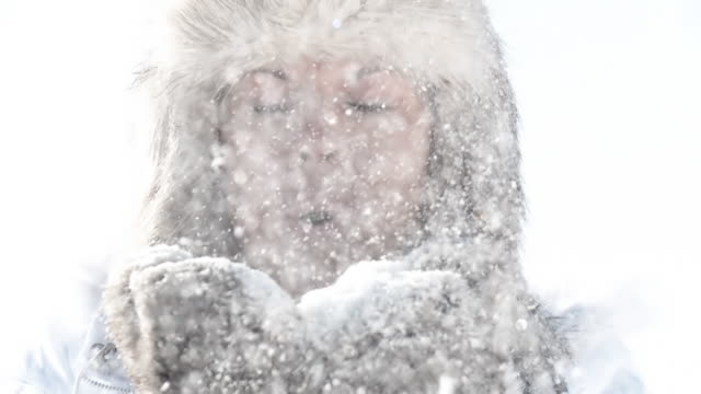 HD SLOW-MOTION: Beautiful Woman Blowing The Snow