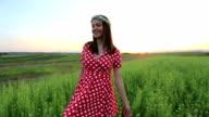 Beautiful woman in polka dot dress
