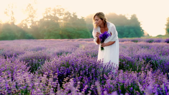 DS Beautiful woman picking lavender flowers