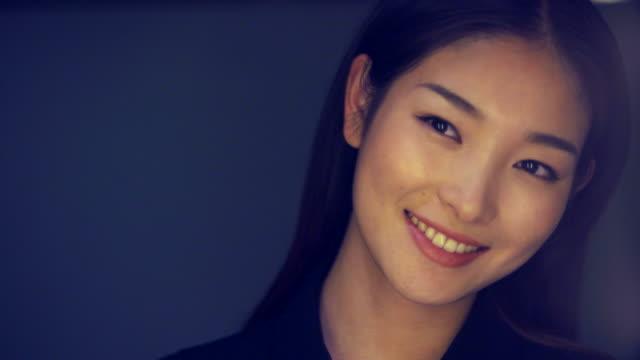 ECU beautiful woman smiling