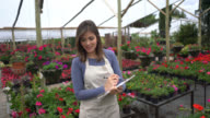 Beautiful woman working at a garden center doing inventory