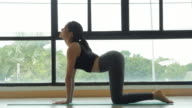 Beautiful young lady does yoga. Front view.