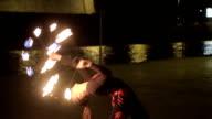 beautiful young woman dancing with fire