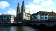 Beautiful Zurich river in sunny day