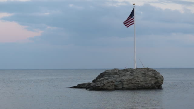 Beauty shot of American flag waving in the wind