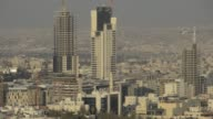 Beauty shot of vastness of Amman Includes huge Jordanian flag