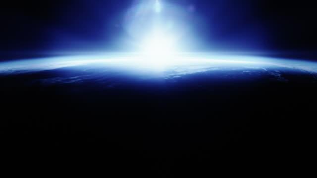 Beautyfull blue sunrise from space