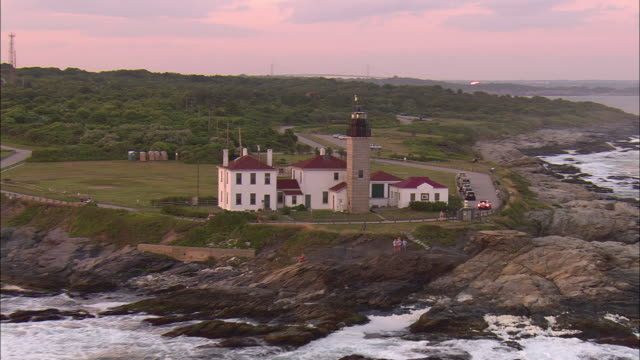 AERIAL, Beavertail Lighthouse, Beavertail State Park, Rhode Island, USA