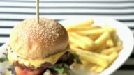 beef burger and cheese with french fries