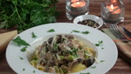 Beef Stroganoff on a Bed of Yellow Egg Noodles.