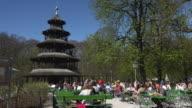 Beer garden at Chinesischer Turm, Englischer Garten, Munich, Bavaria, Germany