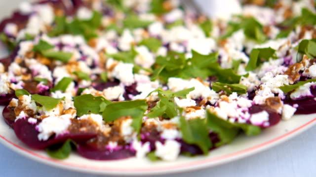 Beetroot carpaccio appetizer dish