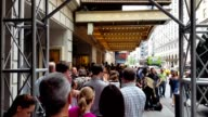 Before a performance of the Broadway musical Hamilton two days prior to creator Lin Manuel Miranda's departure from the show fans wait in line to...