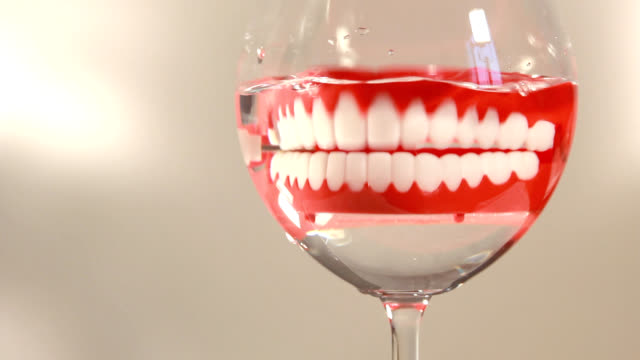 before bed I put the dentures in a glass