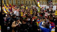 London torch procession disrupted by Tibet protesters Protestors at Argyle Square including Joanna Lumley Protestors listening to speaker and...