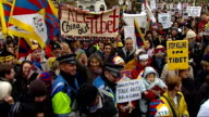 London torch procession disrupted by Tibet protesters Protestors at Argyle Square including Joanna Lumley Tibetan protestors with colourful flags and...