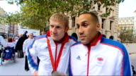 London victory parade compilation DeGale and Jeffries smiling and waving as along on float / DeGale smiling / More of DeGale and Jeffries DeGale and...