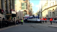 London victory parade compilation More of crowds applauding and cheering as floats carrying Team GB athletes pass by SOT / Adlington amongst...