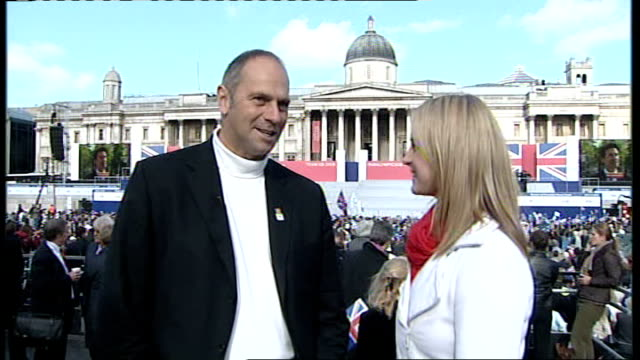 Team GB celebration and victory parade rushes Steve Redgrave interview about Team GB's achievements in Beijing SOT