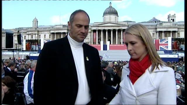 Team GB celebration and victory parade rushes Trafalgar Square Steve Redgrave chatting with Alex Hydnman prior to interview SOT