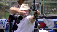 British athletes preparations CHINA Beijing EXT Fred Stevens during target practice session for archery and Fred Stevens interview SOT