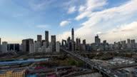 Peking Central Business district gebouwen skyline CBD in de storm