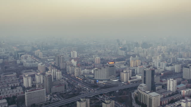 T/L WS HA TD Beijing Residential Area Cityscape in Air Pollution, Day to Night Transition