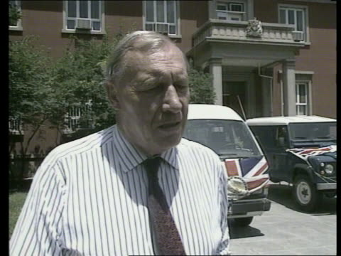 British Embassy MS Sir Alan Donald towards out building with David Smith CMS Intvw Sir Alan Donald intvw SOF MS Two male British students and one...