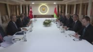 Belarusian President Alexander Lukashenko meets with Turkish President Recep Tayyip Erdogan in Istanbul Turkey on April 13 2016