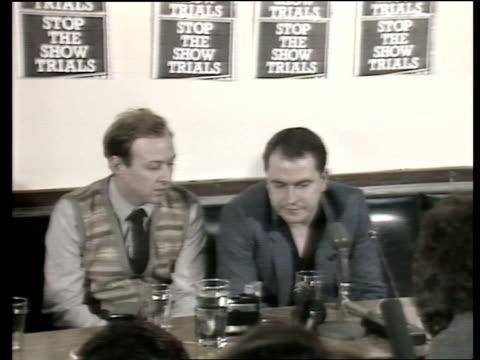 Belfast INT MS IRA Supergrass Robert Lean into Sinn Fein PKF PAN as he takes his seat MS Lean tells journalists how he escaped CS Robert Lean press...