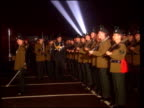 Belfast LMS Members of new Royal Irish Regiment along marching in ceremony G/AIR Fireworks explode in air MS Members of new Regiment stand to...