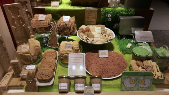 A Belgian bakery displays Easter pastries