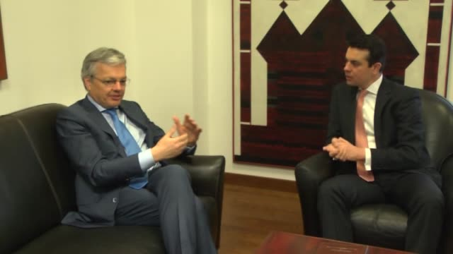Belgian Deputy Prime Minister and Foreign Minister Didier Reynders and Macedonian Foreign Minister Nikola Poposki meet in Skopje Macedonia on April 6...