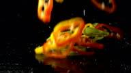 Bell Pepper Slices Splashing