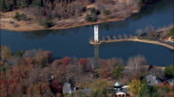 bell tower on swan lake - Aerial View - South Carolina,  Greenville County,  United States