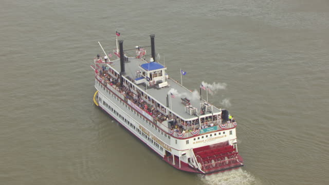 MS AERIAL DS Belle of Louisville boat in Ohio River / Louisville, Kentucky, United States