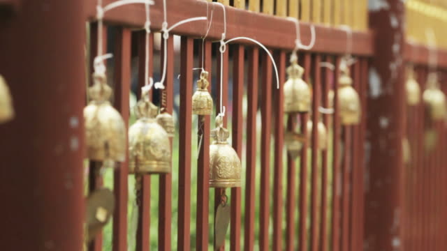 Bells Moving at a Buddhist Temple in Thailand