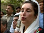 Benazir Bhutto press conference / Clashes between antiMusharraf protestors and police PAKISTAN Islamabad EXT Benazir Bhutto press conference SOT
