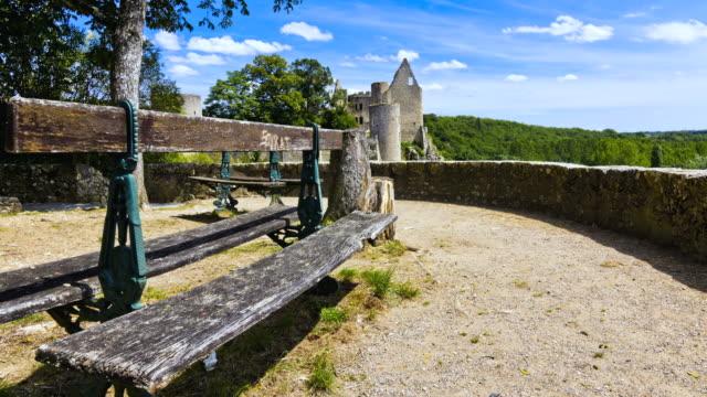MS T/L POV Benches from La Huche Corne in Angles sur l'Anglin village and Castle / Angles sur l'Anglin, Poitou-Charentes, France