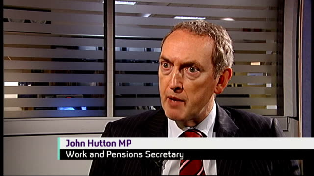 Benefit claimants to face to lie detector tests ENGLAND INT John Hutton MP interview SOT Don't want to deter decent folk / we will do more to stop...