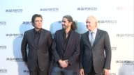 Benicio del Toro director Fernando Leon de Aranoa and Tim Robbins attend 'A perfect day' premier in Madrid