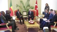 Benin President Patrice Talon meets with Turkish Parliament Speaker Ismail Kahraman at the Grand National Assembly of Turkey in Ankara Turkey on...