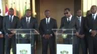 Benin President Thomas Boni Yayi and Togolese counterpart Faure Gnassingbe visit Ivory Coast following a terror attack that left 18 people dead they...